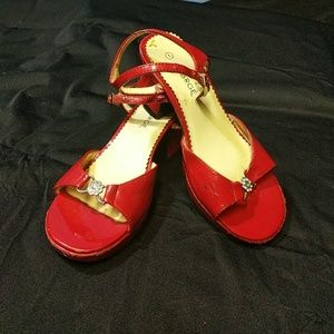 Girls red George dress shoes